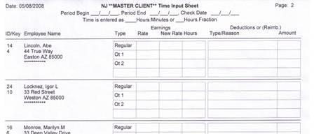 payroll sheets